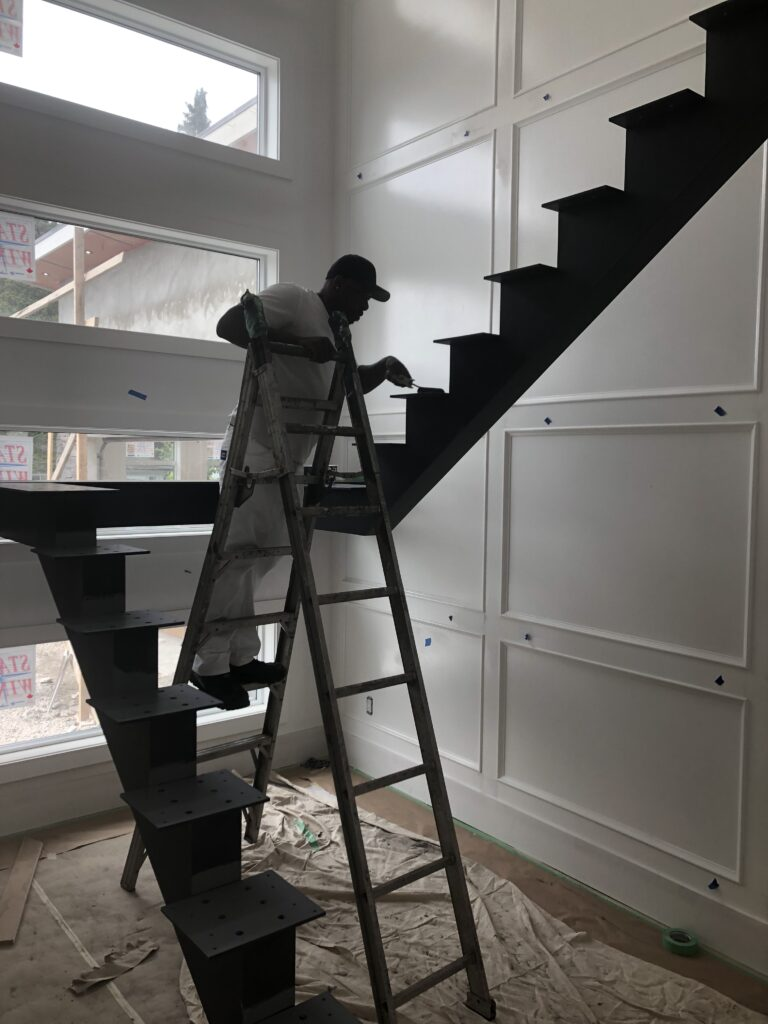 painting beam of staircase
