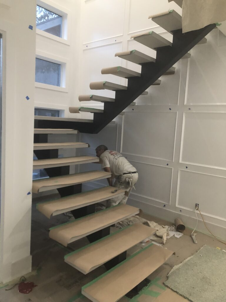 painting floating staircase
