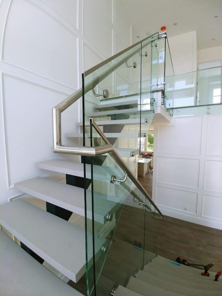 stainging and painting floating staircase